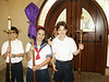 Rachel carrying the cross in chapel at the ESD Lower School.  With ... and Alex Beane.  Spring 2004.