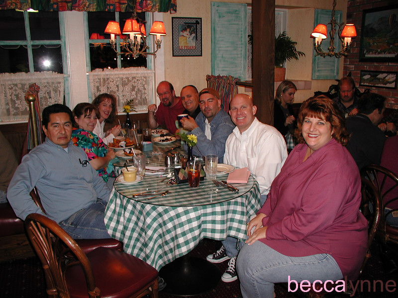Left Side of Table: Karen Allen, Karyn Hantzes, Unknown<br /> Right Side of Table: Peter Geisterfer, George Hantzes, Unknown, Bill Cholman, Unknown