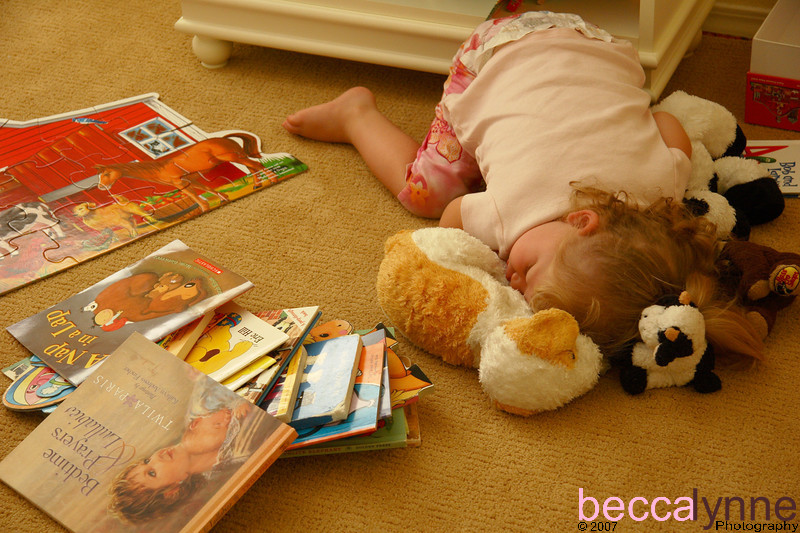"Too much of a Good Thing!<br /> <br /> Amelia really wanted to read her books today during her rest time, but she was just too tired to make it through a single book.  I love the fact that her ""friends"" are surrounding her as if to protect her during her nap.  She slept like this for 3 hours."