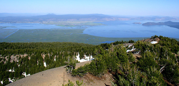 Klamath Lake, Upper Klamath NWR, and Agency Lake from the top of Pelican Butte