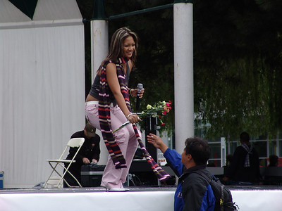 Singer receiving flowers
