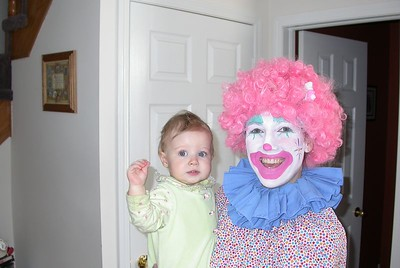 Danielle dressed as clown & Ainsley crawling through table - 2004/03/28