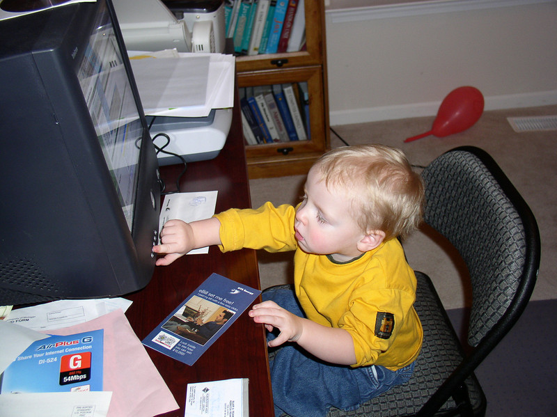 Grant loved to play with the computer