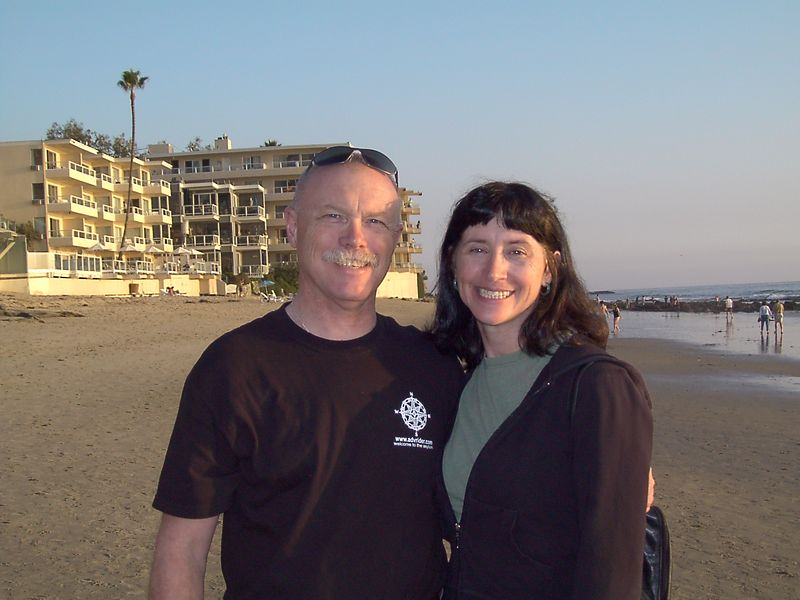 Lois and Dick in front of the hotel