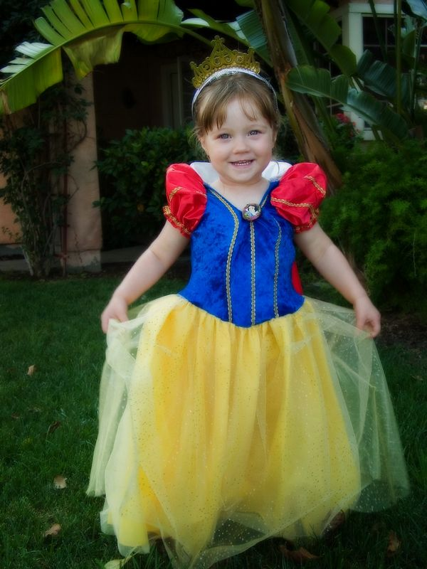 7/30 - We got this dress as a gift from Julia and Chloe. Lili immediately recognized it as Show White's dress and was very happy to pretend to be Snow White on Hannah's birthday