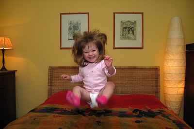 "3/20 -Lili thinks ""bedtime"" means ""it's time to jump on the bed"" :-)"