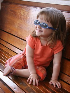 4/30 - One more photo on the Poway train. Lili insists to put on her sunglasses by herself.