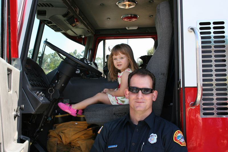 10/15 - Sitting in a fire truck was a lot of fun, Lili never got tired of it