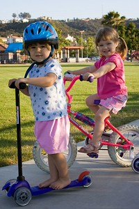 6/24 - Maja is learning to ride the scooter too. They are very good friends, Lili doesn't mind sharing her toys with Maja.