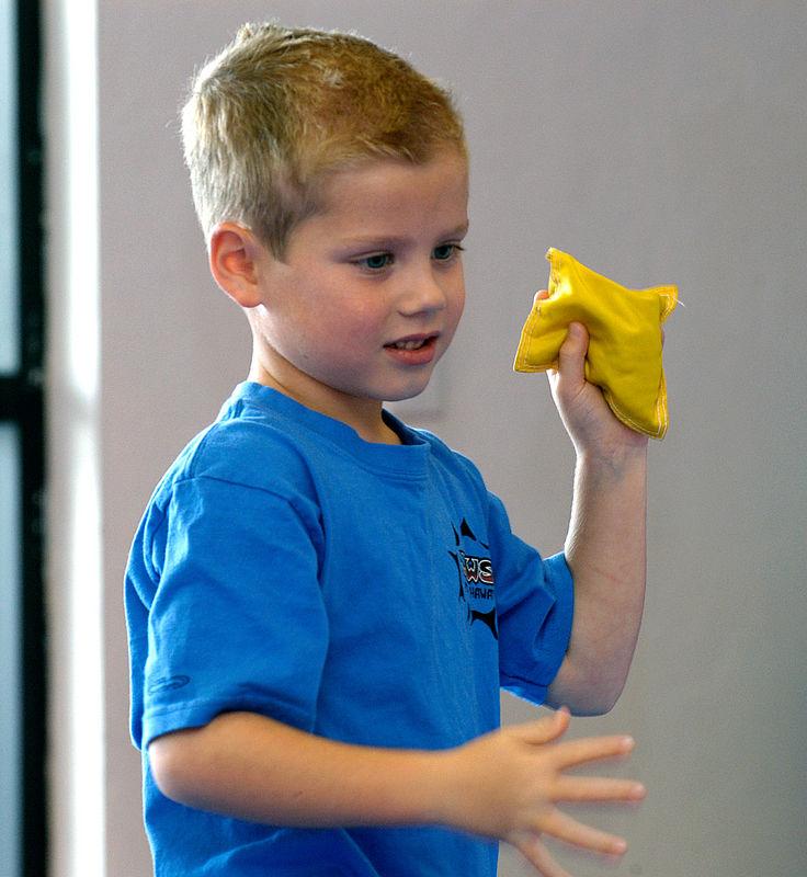 (8-13-05)  Jacob throwing the bean bag.
