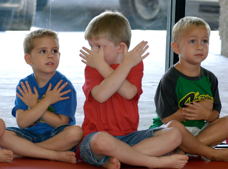 "(8-13-05) Dylan, Connor and Blake ""sitting like a Black Belt."""