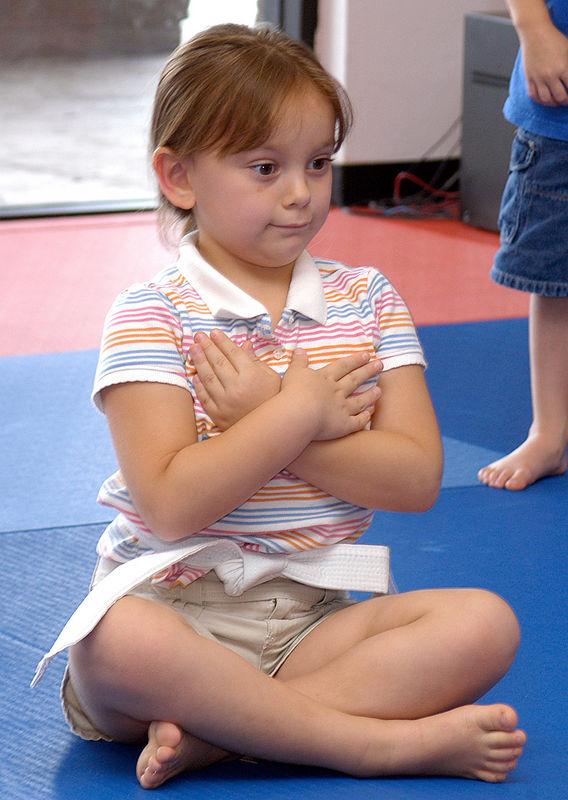"""(8-13-05)  Maria sitting like a """"black belt."""""""