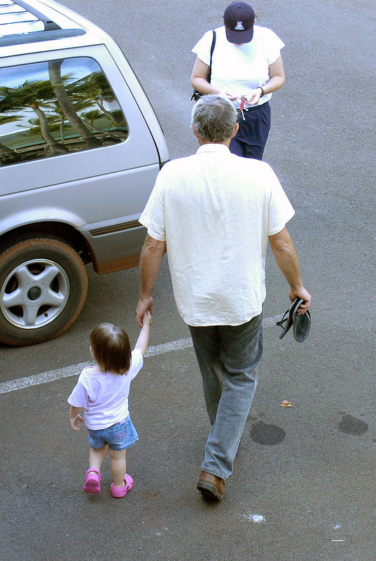 (11-05-2005, Molokai, HI)  Uncle John showing Claire the way on her first full day on the Island.