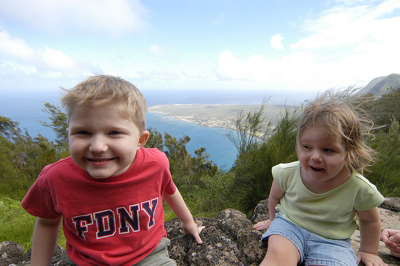 (11-07-2005)  Connor and Claire at the Kalaupapa lookout.