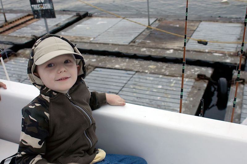 May 28, 2005 -- Connor aboard the Daily Double while it loads up at the bait barge in San Diego Harbor.