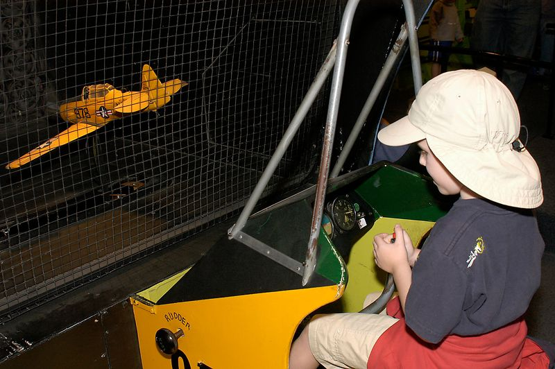 "May 29, 2005 -- Connor ""flying"" a plane at San Diego Aerospace museum."