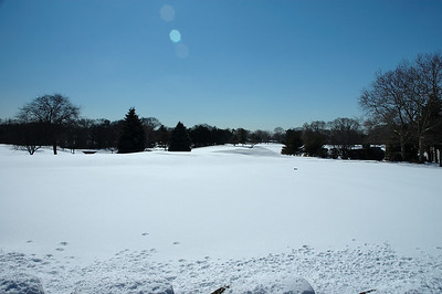 Looking across the practice green to the 18th green....