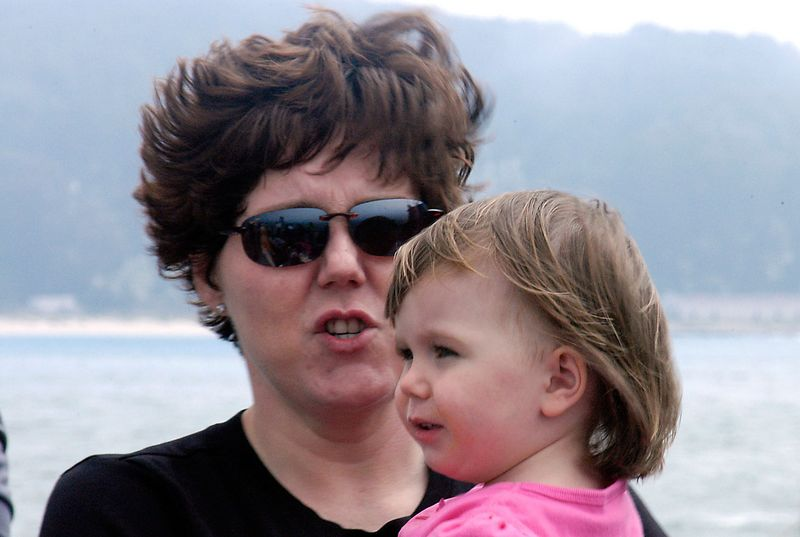 6-29-2005 -- Mom and Claire on a breezy San Francisco harbor cruise.
