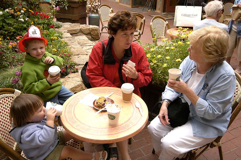 7-1-2005 -- Enjoying a cup of coffee (and hot chocolate.)