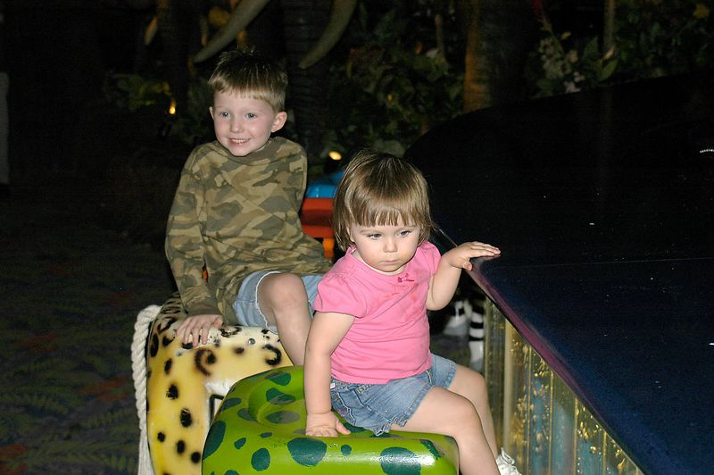 6-29-2005 -- Connor and Claire bellying up to the bar at the Rainforest Cafe at Fisherman's Wharf in San Francisco.