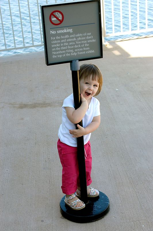 6-27-2005 -- Claire with her favorite attraction at the Monterey Bay Aquarium.