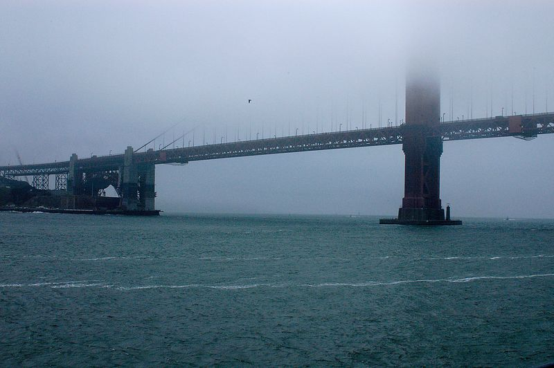 6-29-2005 -- The Golden Gate Bridge shrouded in the fog from the harbor cruise.