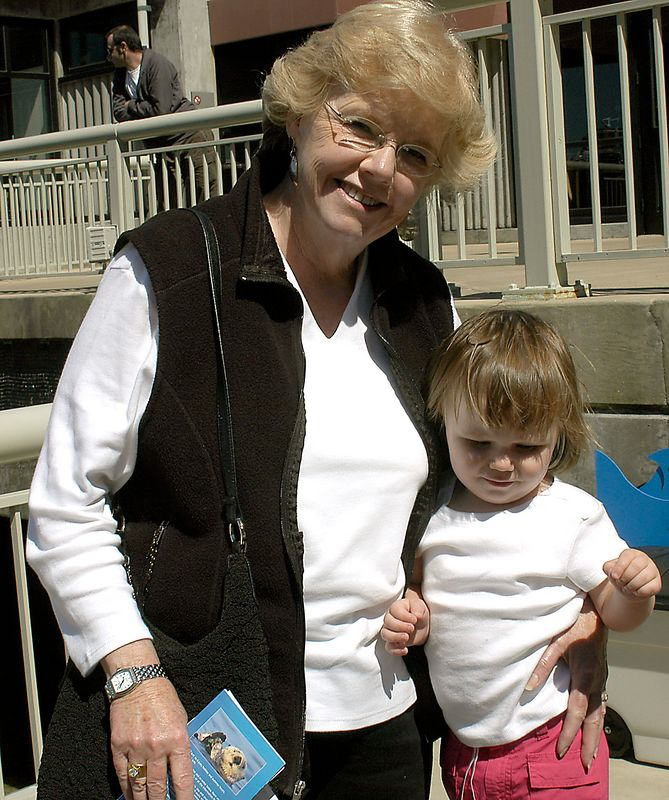 6-27-2005 -- Aunt Pat and Claire at the Monterey Bay Aquarium.