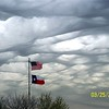 Really neat mammatus clouds as part of a storm in Dallas area, March 25, 2009.