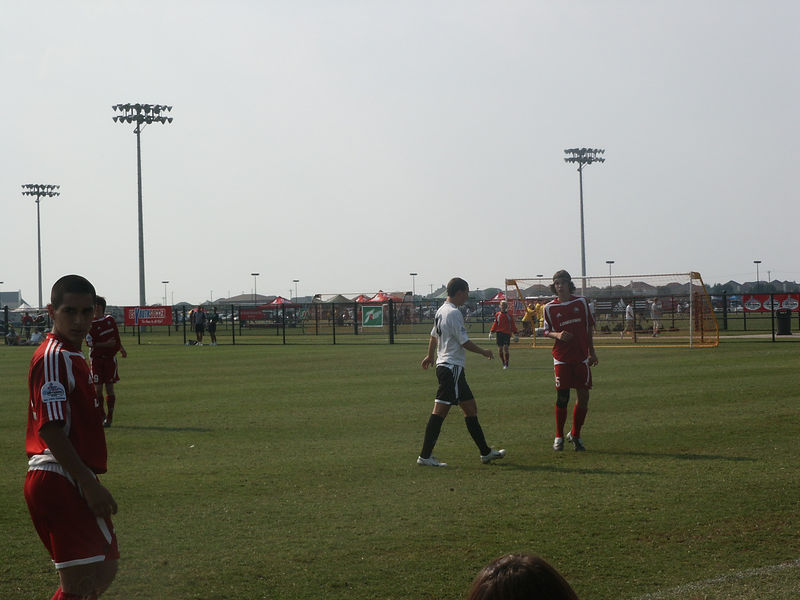 Christian and Ian playing soccer in Dallas.