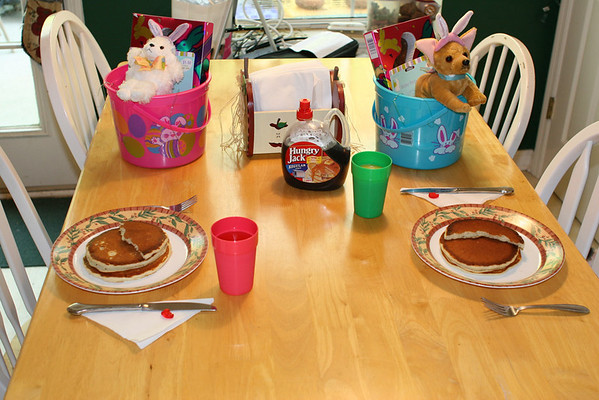 Jenn surprised the kids with an Easter basket and pancakes.