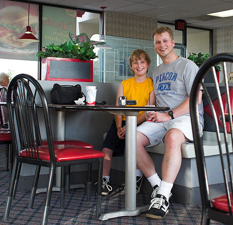 Joshua and Tim rode their bikes to Jack In The Box, May 2006