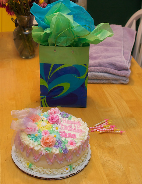 Jennifer's Birthday Cake and Gift from Lisa.<br /> Friday, August 4th, 2006