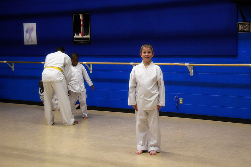Joshua at Taekwon-Do, October 2006. Dad and Josh both take the class.   Dad does not have a Do-Bok (uniform).