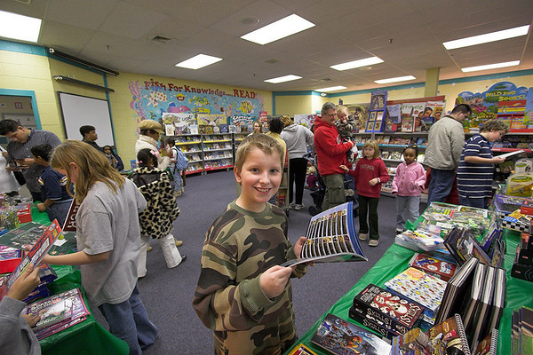 Joshua at the school book fair - October 2006