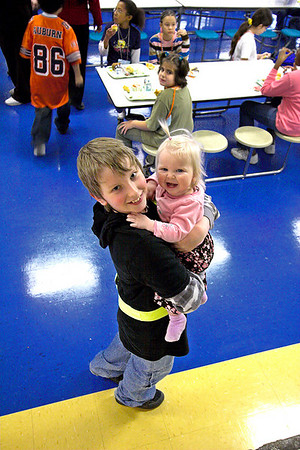 Chloe visits Joshua and Abigail at their school,  for a Valentine's Day Luncheon  Photo: 070213_3074w3_Josh_Chloe