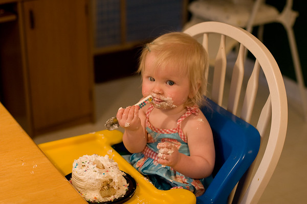 Chloe, Age 1 - Eating 1st Birthday Cake