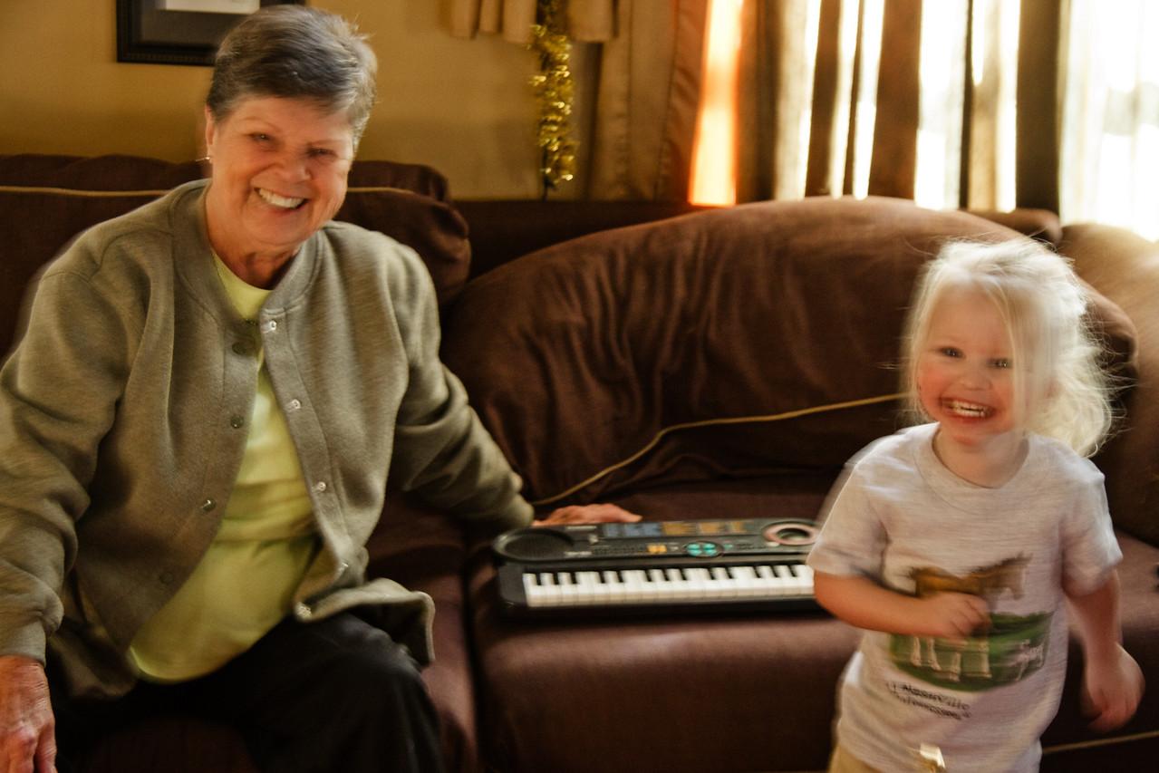 Chloe Lorraine having fun with Great Grandma Lorraine.