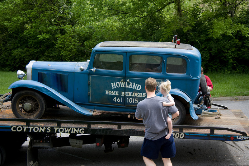 My father's 1932 Dodge DL.   That is me, holding my youngest daughter, Chloe.