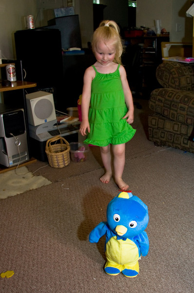 This is Pablo, from one of Chloe's favorite shows, The Backyardigans.  Pablo walks around, dances around and sings.