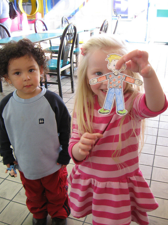 "The Flat Stanley that Alexis originally sent to us decided to take a little vacation, so we had to find another Flat Stanley to ""fill in"" for him, while he was away.  We took Flat Stanley to McDonald's where he enjoyed playing in the play area with Chloe and her friends :)"