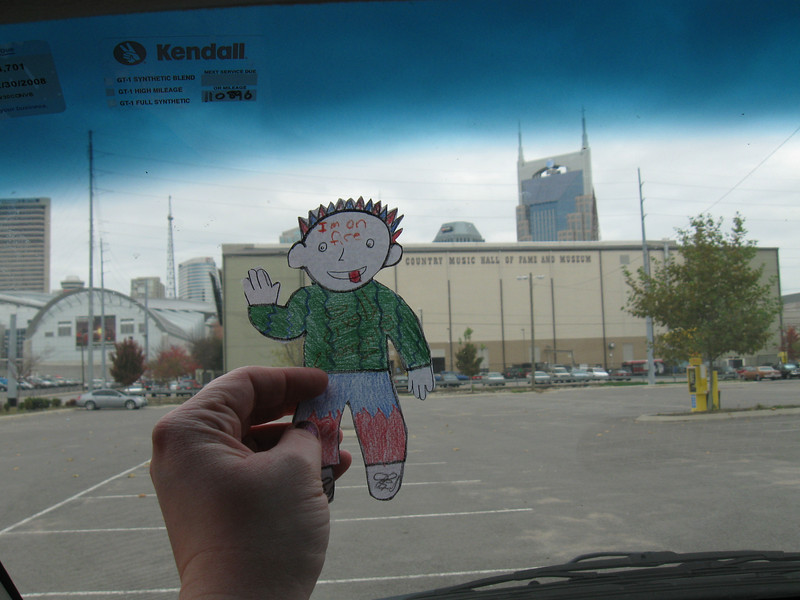 Stanley seems to be a country music fan...silly boy!  Here we are at the Country Music Hall of Fame and Museum, with the Batman Building in the background.
