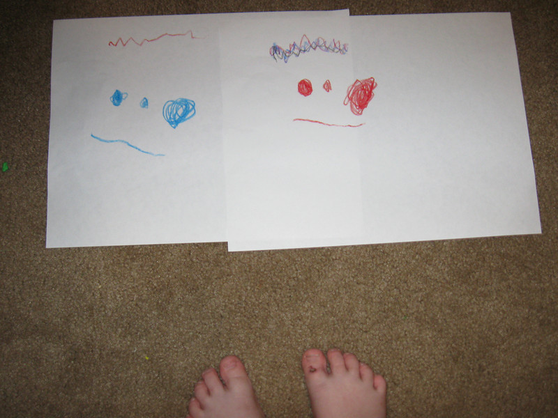 May 24th 2009 - Chloe took this picture of her drawings -and feet!