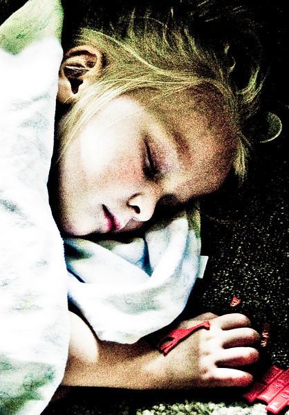 July 2nd 2009 - Chloe sick, sleeping on the living room floor.