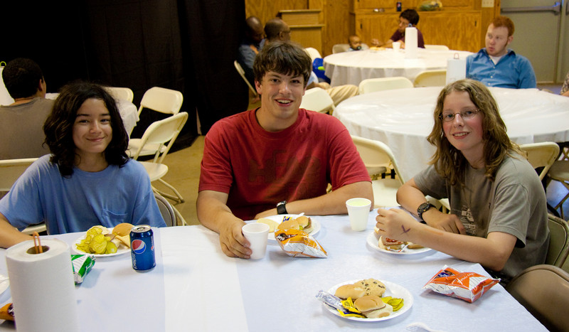 Joshua beside his camp leader and his best camp friend -who also had long hair  :-)