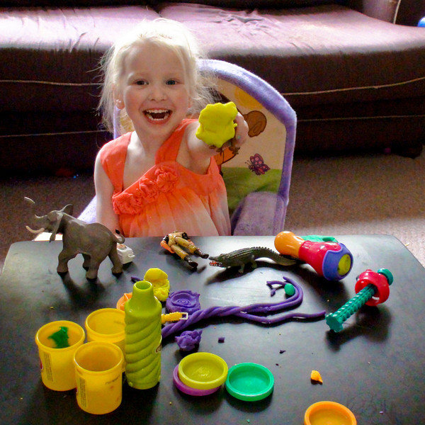 Chloe says thank you to all her grandparents for the money they sent.  She wants to use it to buy playdoh! :-)