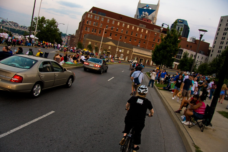 Ride to the fireworks with the Nashville Bicycle Lounge, July 4th, 2010.