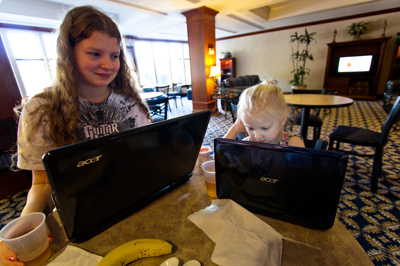 We brought 5 laptops with us.  Here we are at the hotel, with wifi.