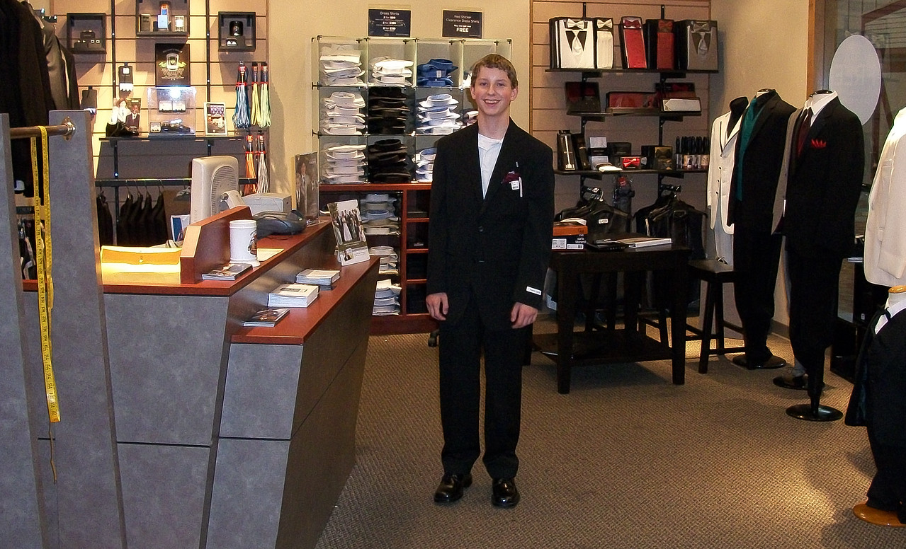 Joshua trying on a suit for the very first time - September 2010
