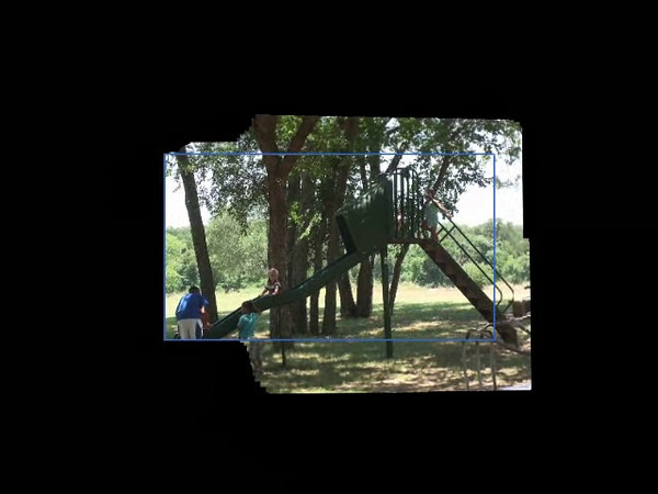This is the campgrounds at Jenn's family reunion (Wayne Harrington's side).  The video was created with the Sony software that came with the camcorder.   The blue rectangle is what the camera saw.  The rest is what was seen in the past.
