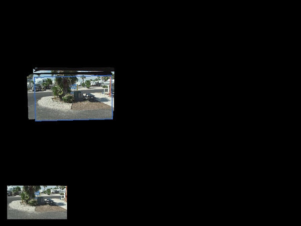 "This is the large ""Fifth Wheel"" that Jenn's father, Wayne, and Susan own and drove to the beach.  The video was created with the Sony software that came with the camcorder.   The blue rectangle is what the camera saw.  The rest is what was seen in the past."